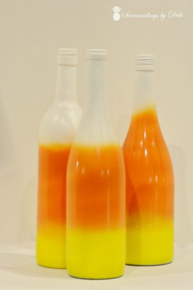 Candy Corn Wine Bottles