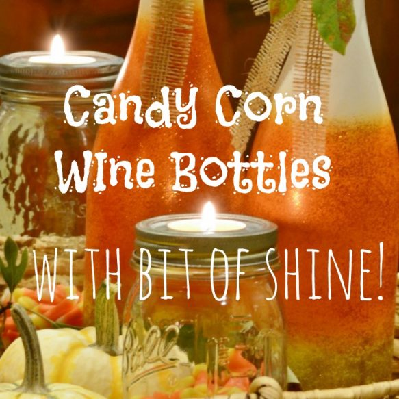 Glittered Candy Corn Wine Bottles - Surroundings by Debi