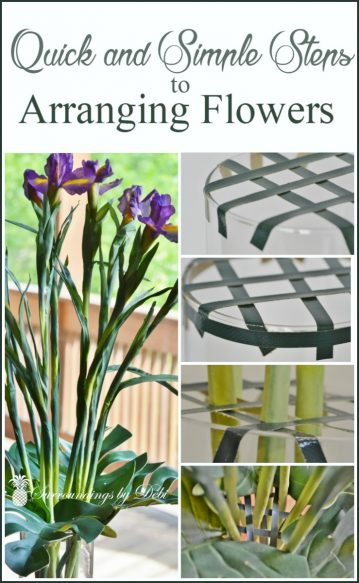 Don't ever struggle again with arranging your flowers stems. These easy step by step directions will have you arranging your flowers in no time! - Surroundings by Debi