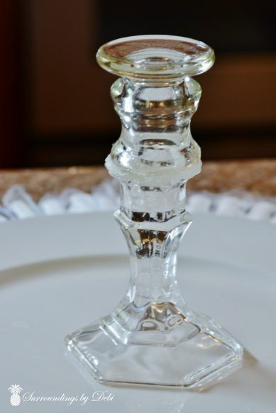 Double candlestick for Tea Party Centerpiece