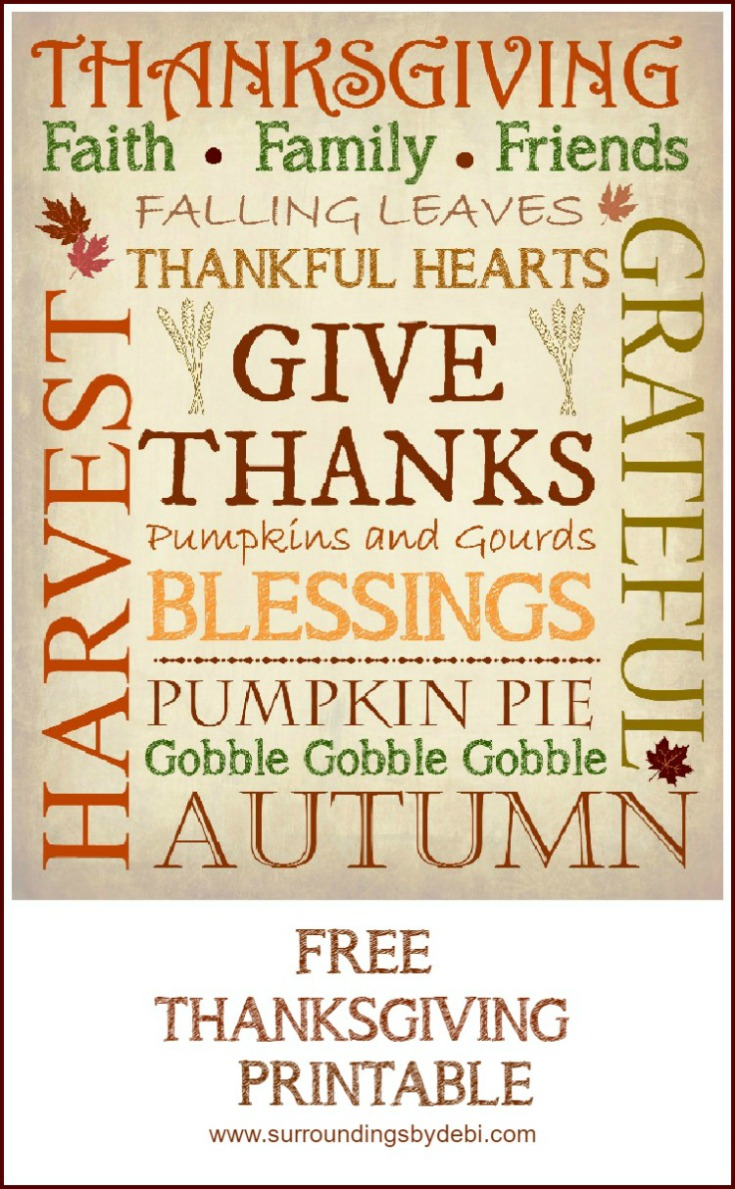 Add a Simple Touch of Thanksgiving to your decor with a Printable. Get this thanksgiving printable in 3 versions - Surroundings by Debi