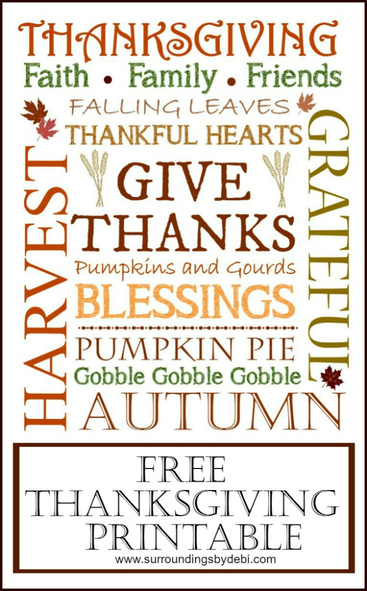 Thanksgiving Printable - 3 Ways - Surroundings by Debi