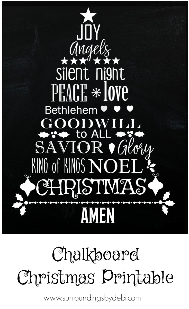 FREE Chalkboard Christmas Printable - Surroundings by Debi
