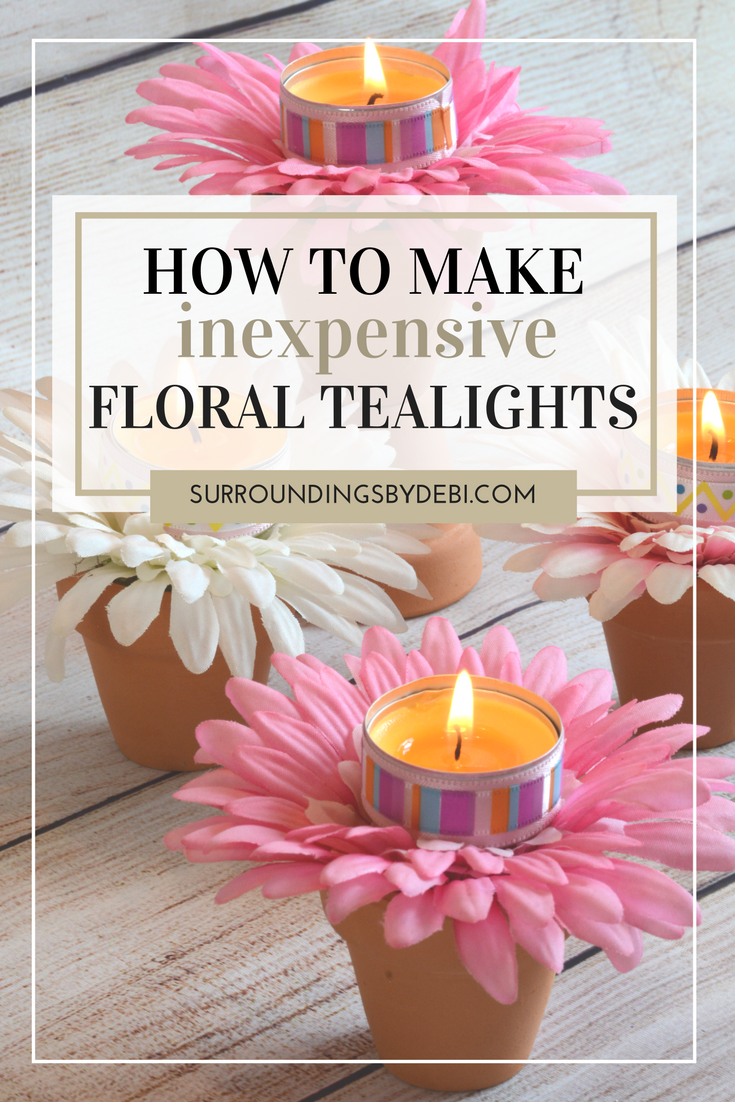 How to Make Inexpensive Floral Tealights in Minutes